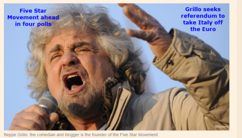 Grillo ahead in 4 polls