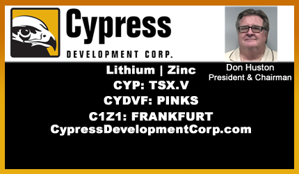 February 13, 2018 : Don Huston - Cypress Begins Drilling on Clayton Valley Lithium Project in Nevada