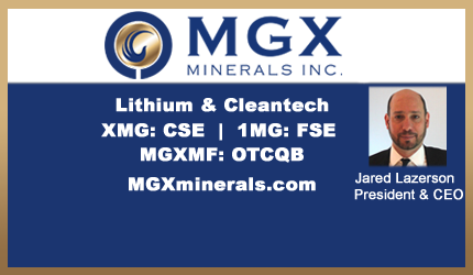 July 12, 2018 : Jared Lazerson - MGX Completes Manufacturing of Rapid Lithium Extraction System