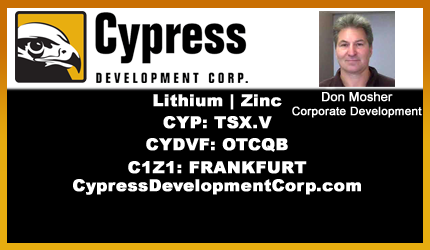 November 19, 2019 : Don Mosher - Cypress Update on Advancing Clayton Valley Lithium Project in Nevada