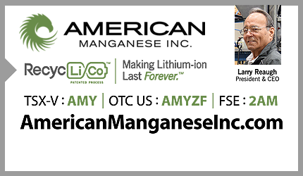 June 12, 2020 :  - American Manganese CEO Discusses Pilot Plant Optimization Press Realease